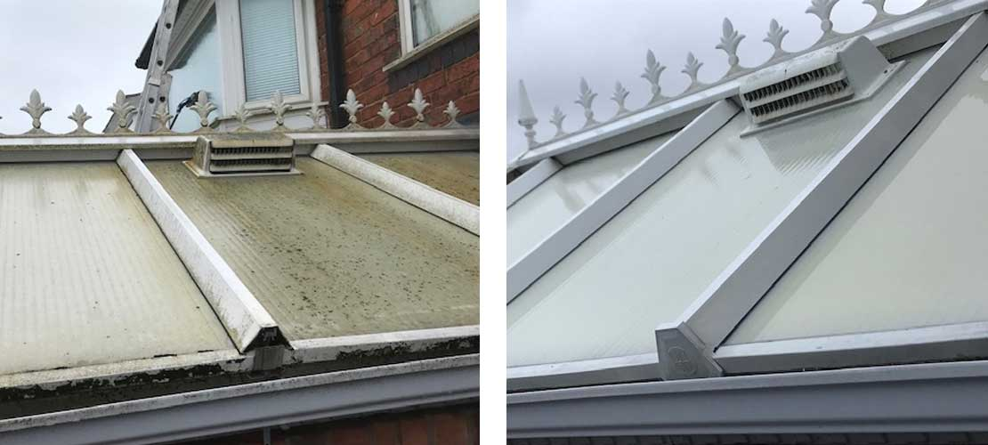 Conservatory clean showing how roof of conservatory can be rejuvenated - Before and After