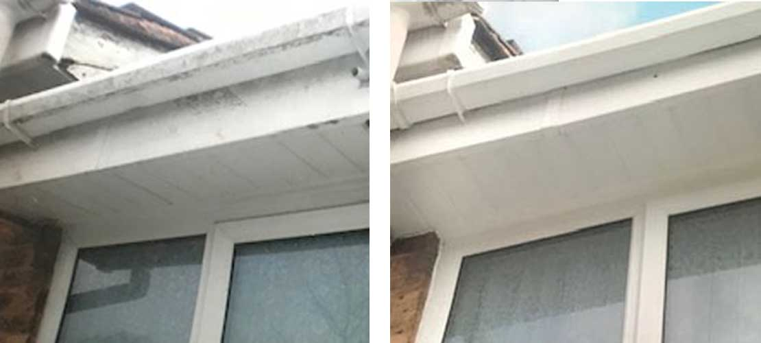 Fascia and soffit cleaning - Before and After
