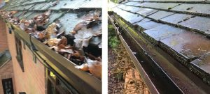 Gutter cleaning, remove moss and debris - Before and After